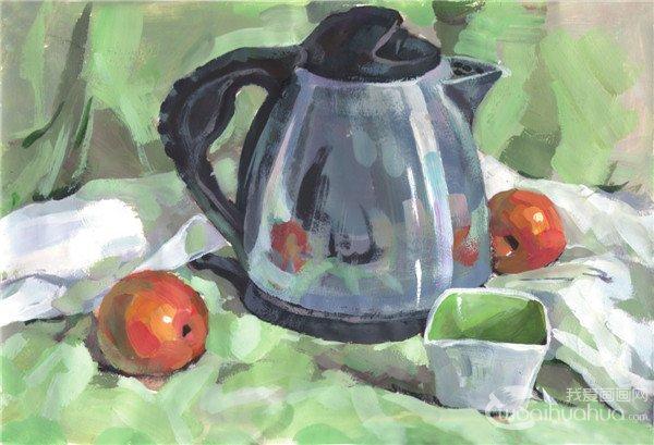 水粉静物组合写生:不锈钢水壶组合的绘画教程(2)