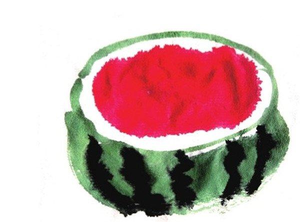 国画西瓜的画法步骤三