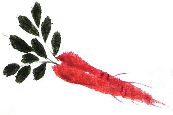 分享国画技法:胡萝卜的绘画步骤.…
