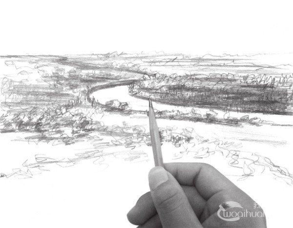 速写平原风景的技法(2)