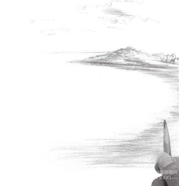 速写大海的绘画步骤(2)_速写教程_学画画_我爱画画网