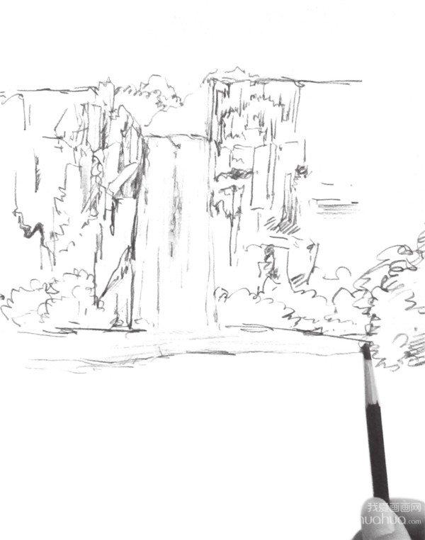 速写瀑布的绘画步骤四