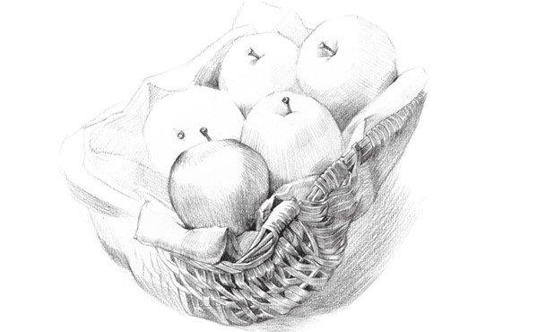 3、铺设大体的色调,画出苹果的明暗关系,体现水果的立体感。  素描苹果篮的绘画步骤教程三 4、深入刻画出苹果篮,注重果篮的明暗关系,把细节刻画清楚。  素描苹果篮的绘画步骤教程四 5、开始对苹果和果篮进行局部刻画,增加色调,整体地去绘画。  素描苹果篮的绘画步骤教程五