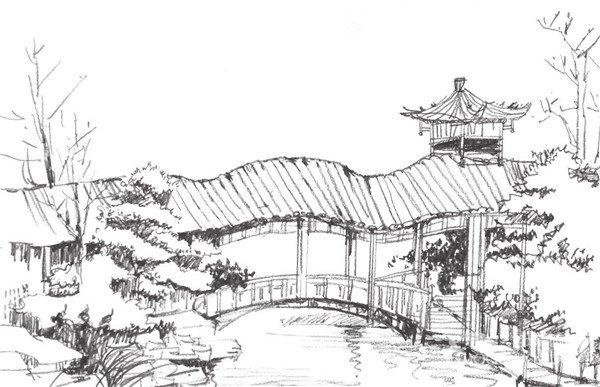 速写园林建筑的绘画教程(3)