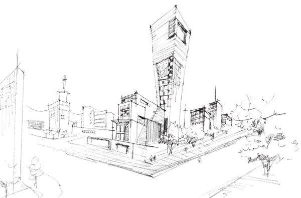 速写繁华街景的绘画步骤(4)