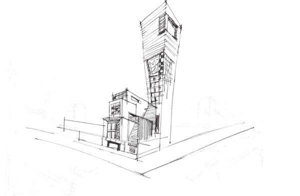 3、在第一步确定的基本线草稿图的基础上,逐步用细致的线条勾勒出物体的轮廓并排列出阴影,将场景中间的内容清晰化。  速写街景的绘画步骤三 4、加深场景中的透视线条,强调出建筑物的透视线,注意颜色要深浅有度。  速写街景的绘画步骤四