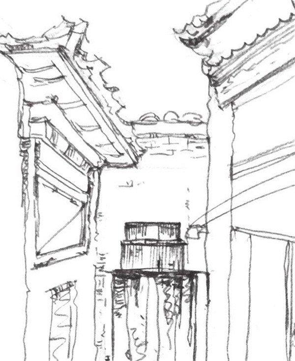 速写胡同小巷的绘画步骤(4)