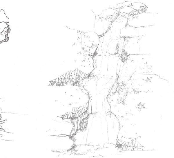 速写山间小瀑布的绘制步骤三