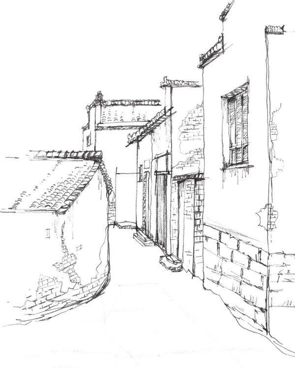 4,画房子时要注意透视关系,注意刻画细节时要有简有繁.