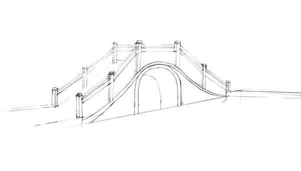 学画画 速写教程 速写场景     5,用线条将桥两侧的岸边画出来,注意