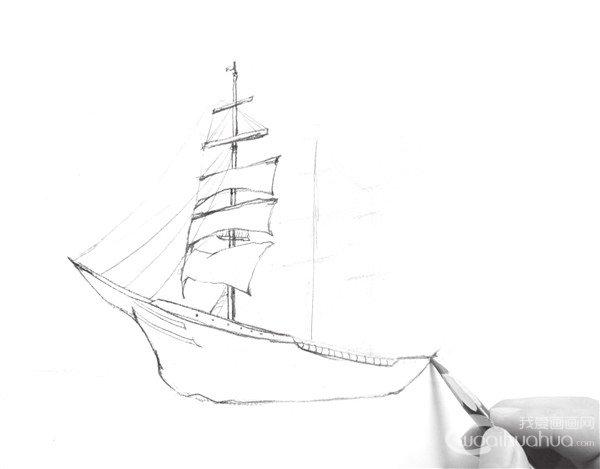 速写海上帆船的绘制步骤三