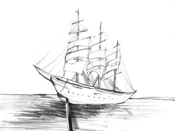 速写教程 速写知识     6,添加出船的阴影,海面及细节,注意海面的质感图片