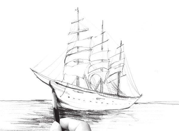 速写海上帆船的绘画技法(5)