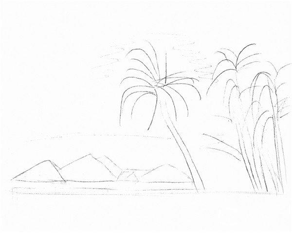 素描海边风景的绘画步骤二