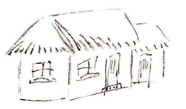 茅草屋的绘画步骤    1,勾画房子形状,茅草以点线表示.