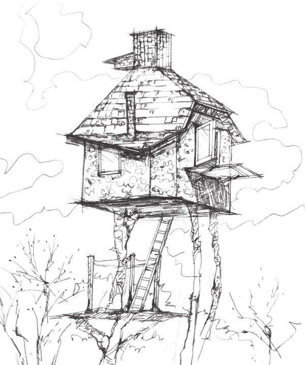 速写空中小屋的绘制步骤十三 14 加深小屋屋子底部的投影,加深线条