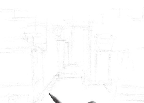 速写徽派建筑的绘制步骤二