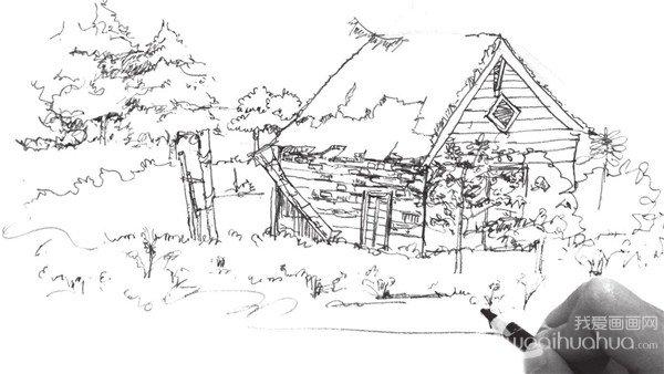 速写森林木屋的绘画步骤(6)