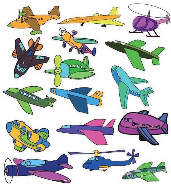 彩色卡通飞机简笔画