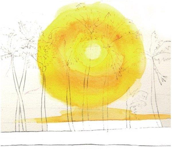 学画画 水彩画教程 水彩风景画     2,先从最浅的太阳的颜色开始画起