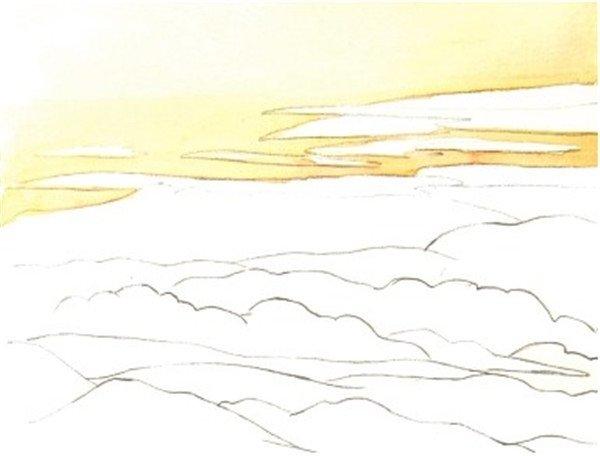 水彩青山的绘画技法