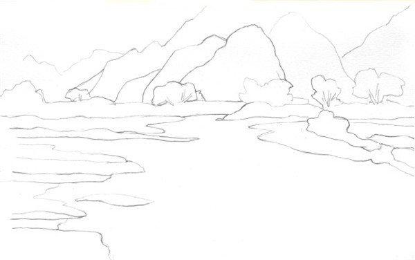 水彩静谧湖面的绘画步骤    1,用铅笔轻轻勾勒出一个山下