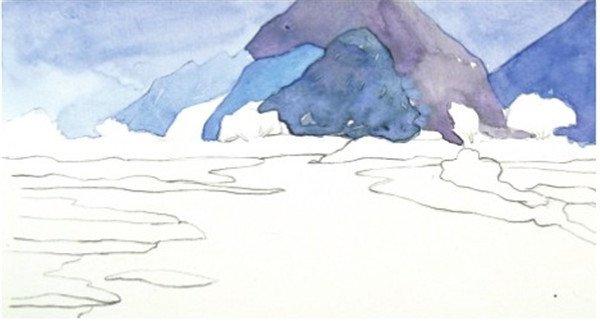 学画画 水彩画教程 水彩风景画     2,先用群青色加上普蓝色调入大量