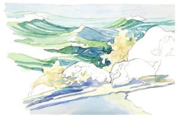 学画画 水彩画教程 水彩风景画     水彩浪花的绘画技法    1,用铅笔