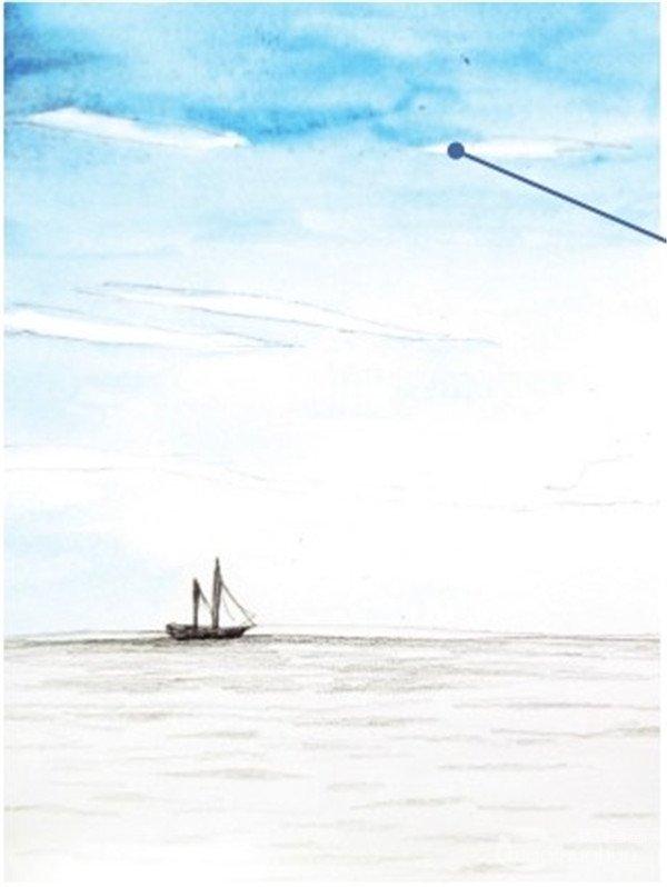 出海平面的位置,注意海平线最好不要在画面的中间位置,要么偏上要么偏下,才会使画面看起来更加舒服。  水彩天空与海面对比色绘画步骤一 云的画法:画天空时趁颜料还未干时用纸巾晕染一下轮廓。  云的画法 2、用天蓝色和钴蓝色调入充分的水,从背景天空开始画起,画的时候注意要留出云的位置,当画面快要干时再用比前面颜色浓一点的蓝色晕染。  水彩天空与海面对比色绘画步骤二