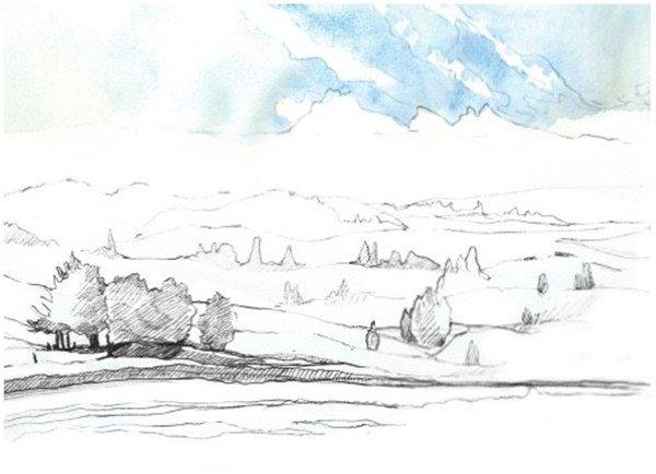 学画画 水彩画教程 水彩风景画     4,开始上色,上天空的颜色,先用
