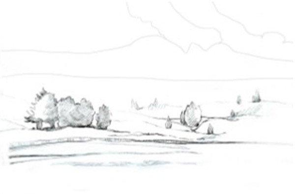学画画 水彩画教程 水彩风景画     水彩草原清晨绘制步骤    1,先用
