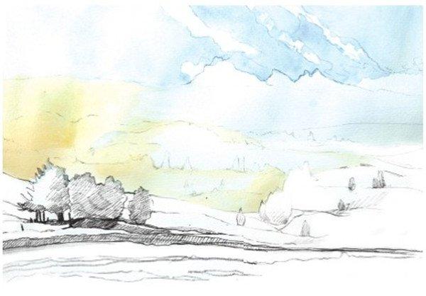 1、先用铅笔勾出草原及远处山脉的大致走向和分布。  水彩草原清晨绘制步骤一 2、根据前面线稿的大形画出草原上的一些景物,比如前景的草地和小路,还有远景中如蚕豆大小的树木。  水彩草原清晨绘制步骤二 画面中越靠前的景物越要画得细致,最前面的几棵树的轮廓要深入刻画,使其成为画面的视觉焦点。  水彩草原清晨绘制步骤二-1 3、继续添加细节,画上远处的山峦,大致勾出来雾的分布,这样后面画的时候才会清楚雾的位置,最后轻轻地勾出天空中的白云。  水彩草原清晨绘制步骤三 4、开始上色,上天空的颜色,先用清水将要上色的部