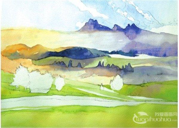 9、紧跟着画远处零散的一些树木,用前面画草原的颜色再往里面加一点群青色,跟画山脉时一样,注意树木的轮廓,由于受光照的原因,草原上也有阳光的颜色,在上草原颜色的时候在颜料里加入一点橙色。  水彩草原清晨绘制步骤九 右边的草地与左边的草地在颜色上有一些区分,使画面色彩层次更丰富。  水彩草原清晨绘制步骤九-1 10、清理完线稿之后,用浅绿色加上柠檬黄色给近处的草原上色,先整体地铺上一层颜色,右边的草原离光照的位置要远一点,颜色要比左边的要深一点,在颜料里加一点橙色,给草原的颜色增加一点变化。  水彩草原清晨绘