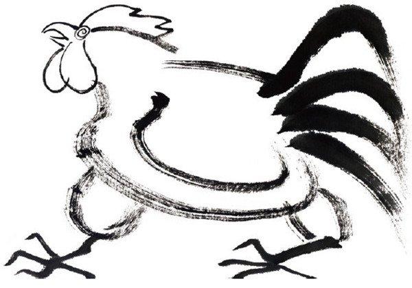 水墨十二生肖酉鸡的绘画步骤二
