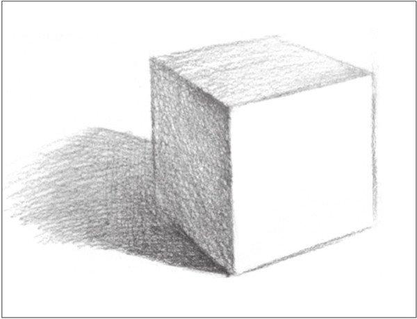 6、随后对投影的调子进行深入刻画。注意调子的虚实变化。  几何体素描之正方体绘画步骤六 7、用较密的排线,有序地画出正方体灰面与暗面的调子,拉开对比。  几何体素描之正方体绘画步骤七 用2B铅笔,画出正方体后方的背景整体调子。  几何体素描之正方体绘画步骤七-1 用4B铅笔,加深刻画正方体的暗部调子。  几何体素描之正方体绘画步骤七-2