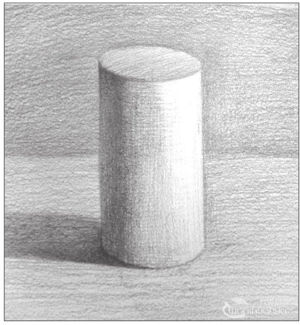 几何体素描之圆柱体绘画步骤九