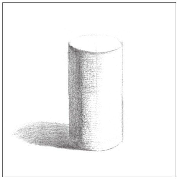 素描圆柱体的绘画步骤(2)