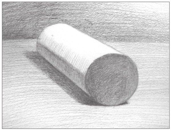 几何体素描之圆柱体绘画步骤八