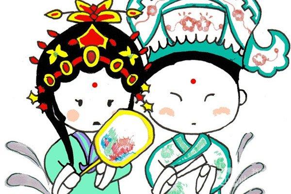 卡通画:京剧演员的绘画步骤
